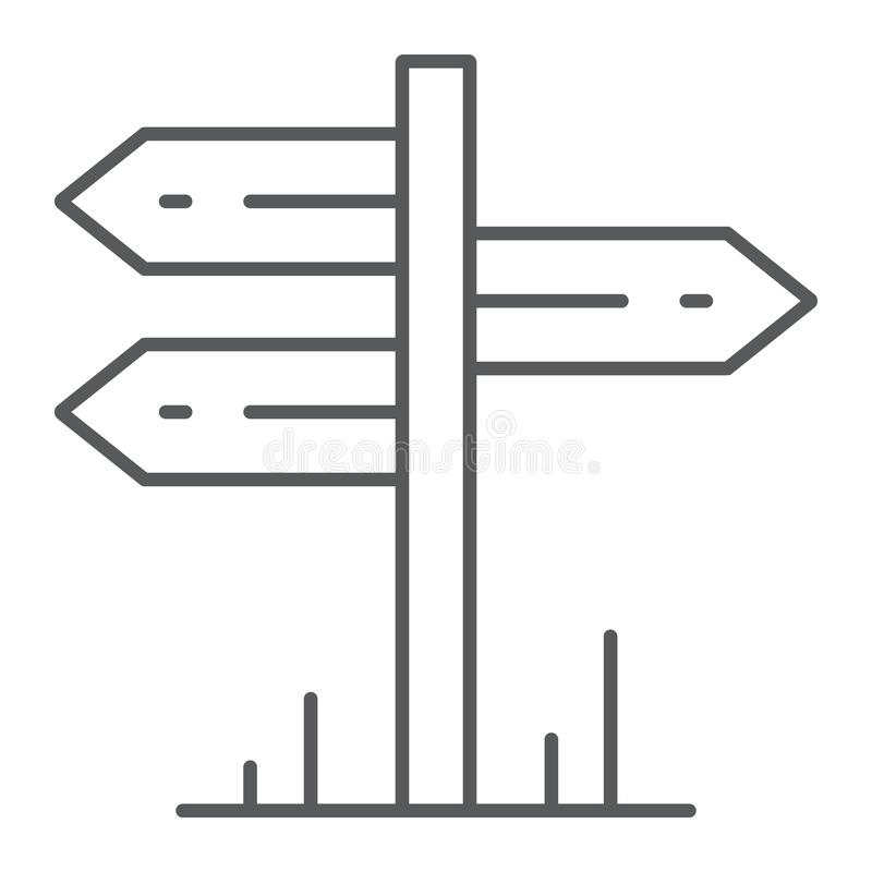 Signpost thin line icon, travel and tourism,. Guidepost sign vector graphics, a linear pattern on a white background, eps 10 royalty free illustration