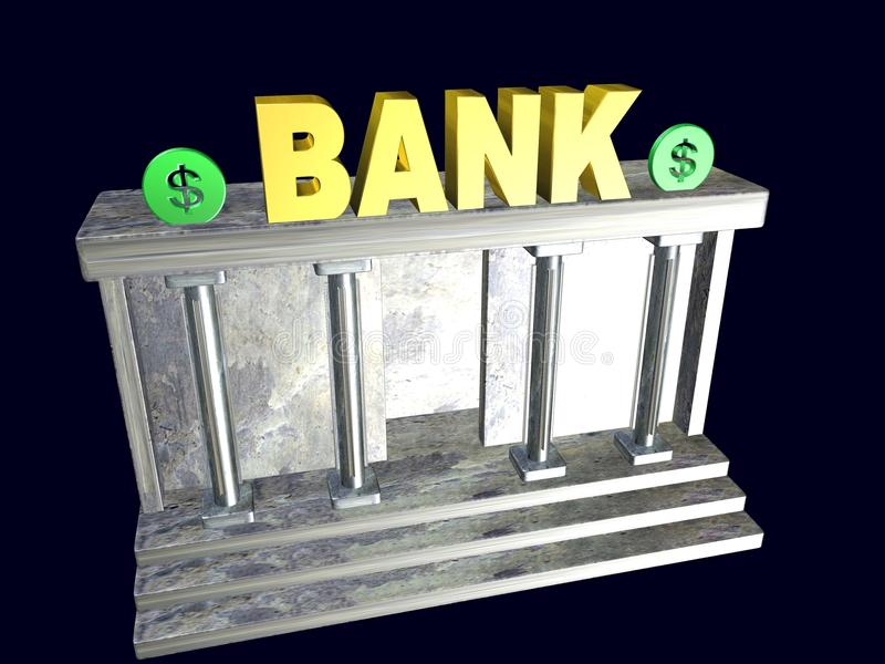 A signpost to the bank, 3d illustration. A signpost to the bank,best 3d illustration vector illustration