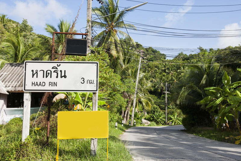 Signpost To Haad Rin, Koh Pha Ngan, Thailand Stock Photos