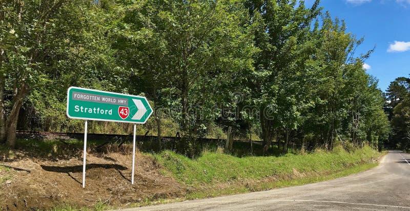 Signpost to Stratford, Taranaki. Signpost to Stratford along the Forgotten World Highway, New Zealand stock image