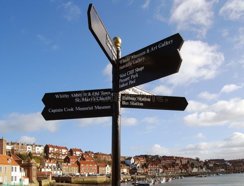 signpost whitby royaltyfria foton