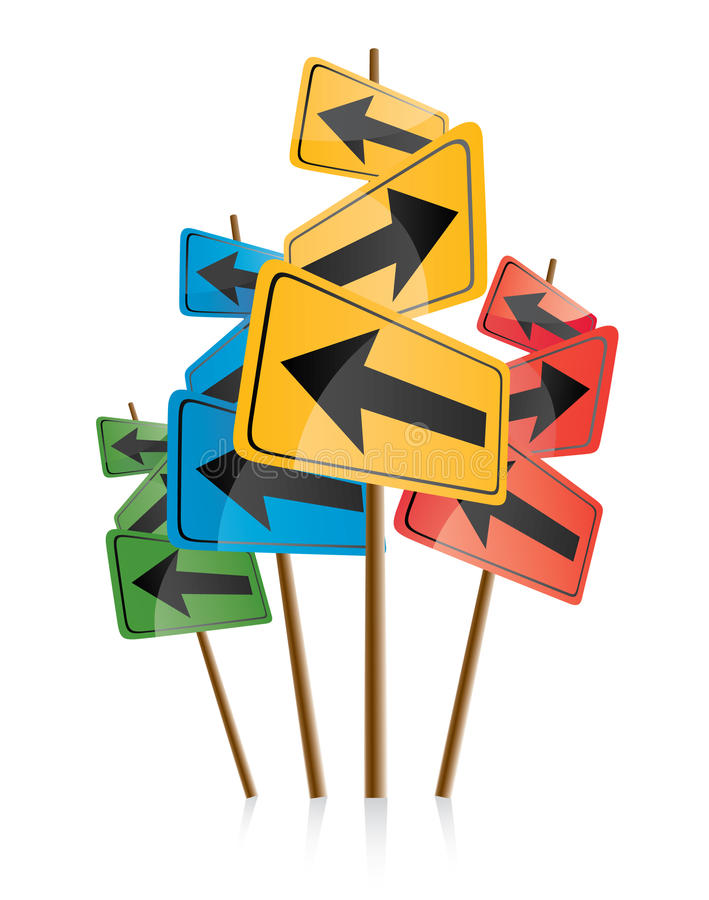 Signposts with colored arrows. A collection or group of colorful signposts with arrows pointing in different directions. White background vector illustration