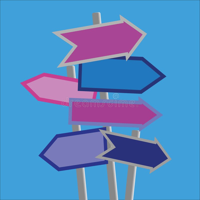 Signposts and Directions. Signposts and direction arrows in shades of blue and purple on posts with copy space stock illustration