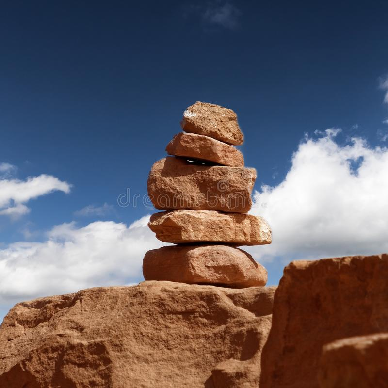 Signposts made of stacked stones from sandstone in the Wadi Rum Nature Reserve, Jordan stock image