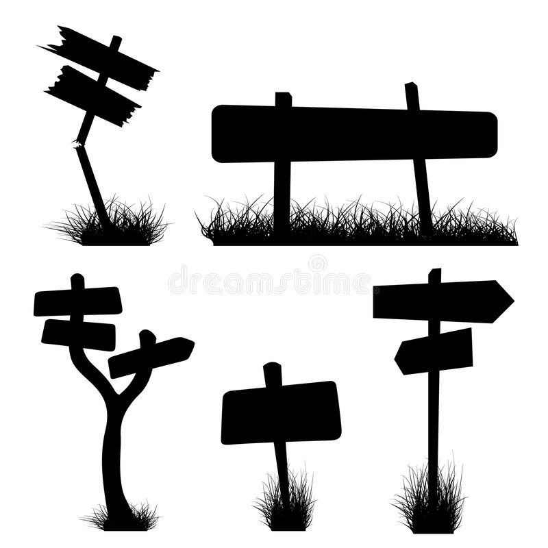 Signposts silhouettes. Set of various signposts silhouettes royalty free illustration