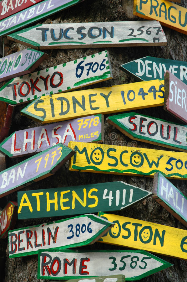 Signposts to the World royalty free stock image