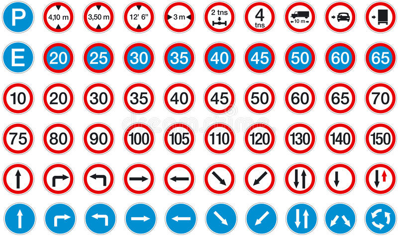 Download Signs 2 stock vector. Image of directional, limit, mile - 243162