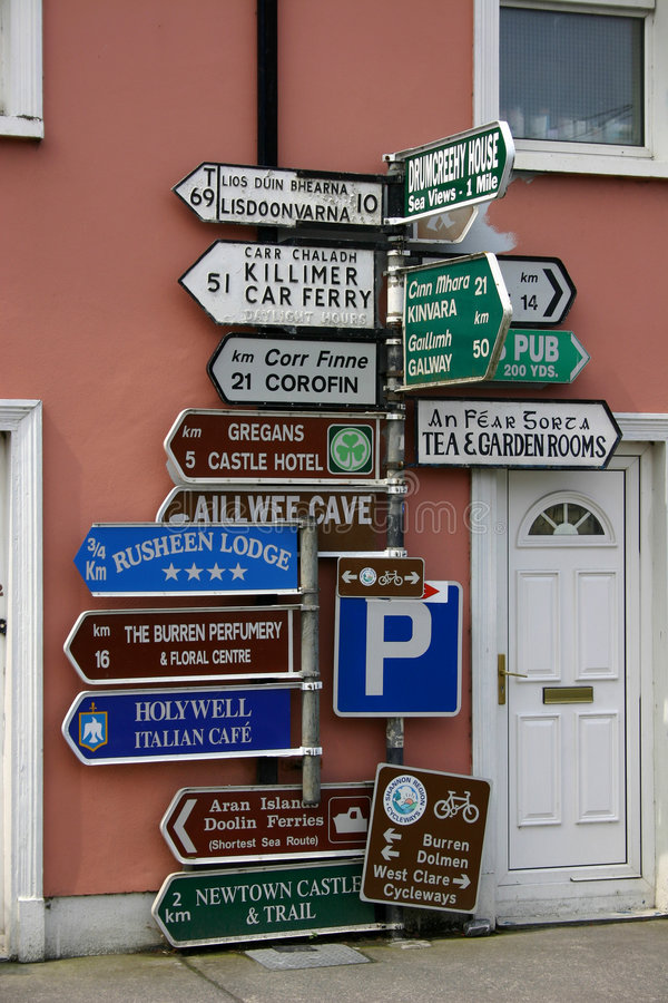 Signs. Massive amount of roadsigns in Ireland