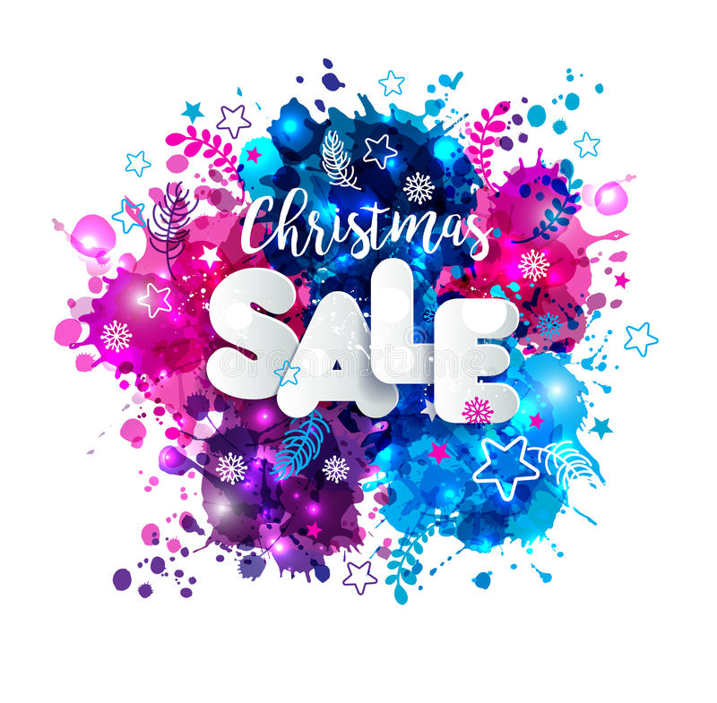 Signs christmas sale in paper style on multicolor hand drawn vector illustration