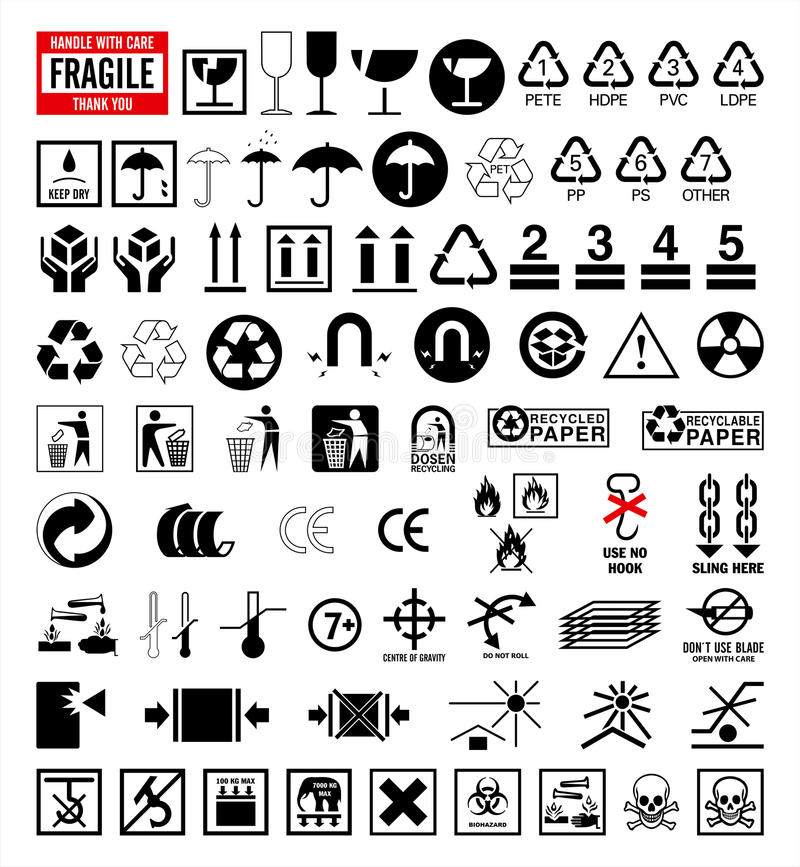 Signs Collection 6 Packing And Shipping Symbols Stock Vector
