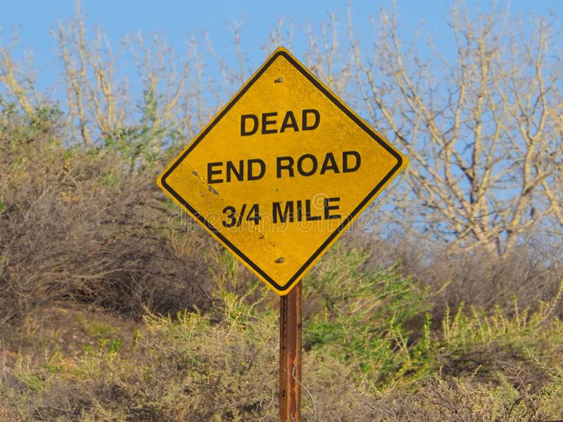 Signs: Dead End Road 3/4 Mile. Road sign in western Colorado stock images