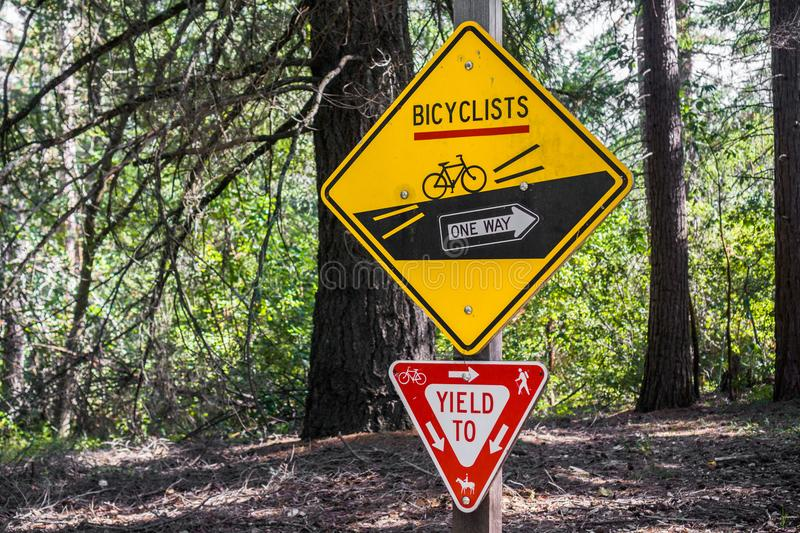Signs depicting the rules to be followed by cyclists. And other trail users, San Francisco bay area, California stock photo