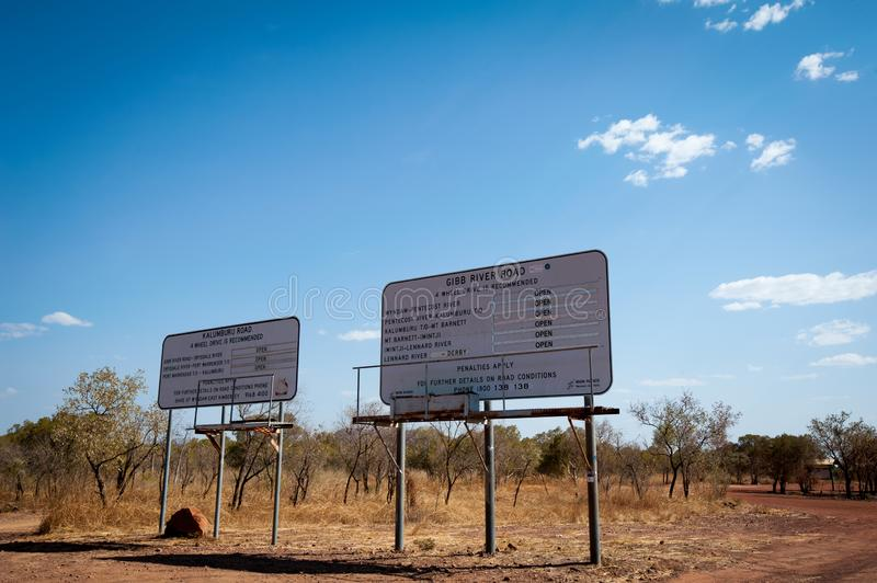 Road signs in remote outback Australia for Gibb River Road and Kalumburu Road royalty free stock photo