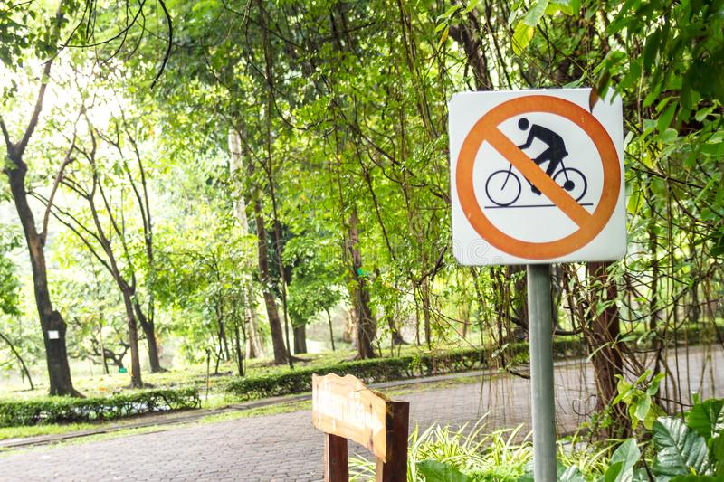 Signs Do not bike in park. Background stock photos
