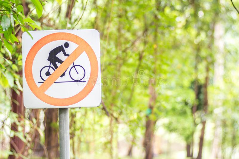 Signs Do not bike in park. Background royalty free stock photography