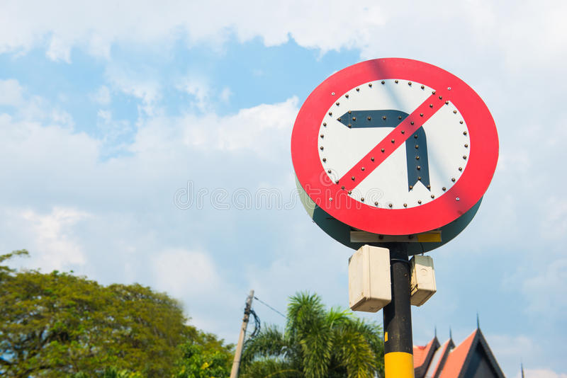 The signs does not turn left traffic signs. Road royalty free stock photography
