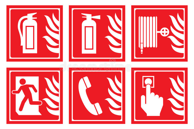 Signs for fire safety stock illustration