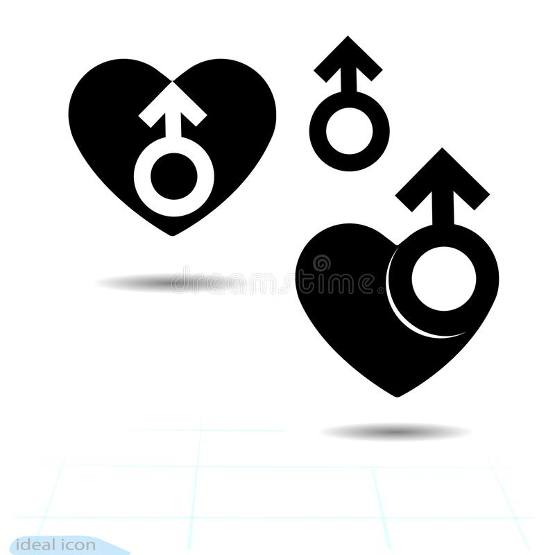 The signs gender icon of the heart. A symbol of love. Valentine s Day. Flat style for graphic design, logo. Black as coal. A lot o stock illustration