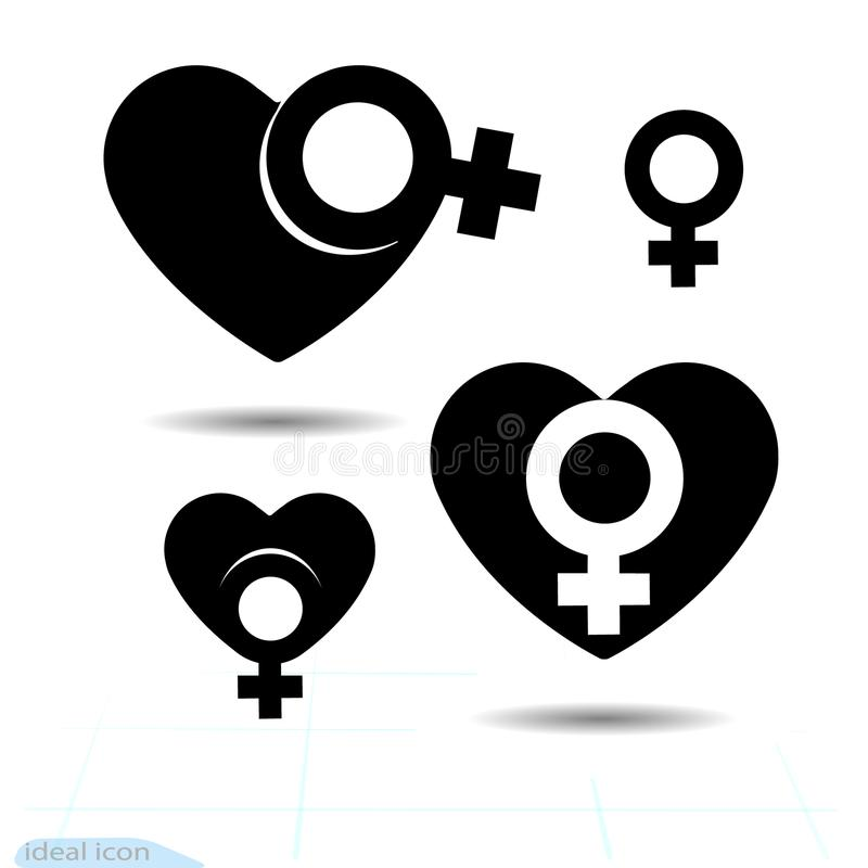 The signs gender icon of the heart. A symbol of love. Valentine s Day. Flat style for graphic design, logo. Black as coal. A lot o royalty free illustration