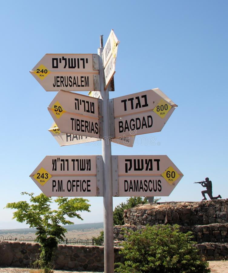 Signs @ The Golan Heights Royalty Free Stock Photo