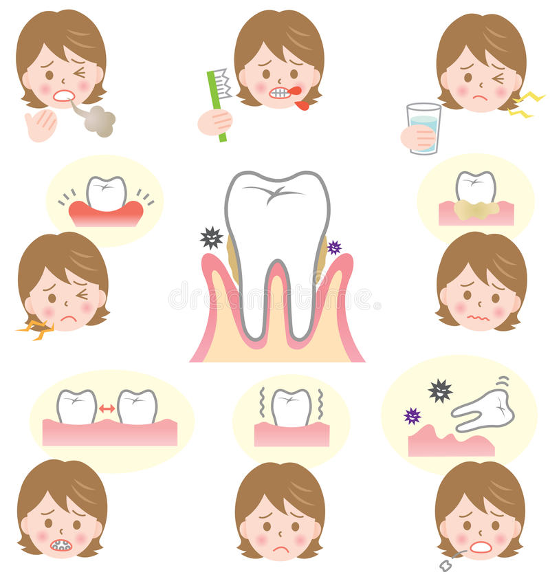 Signs of gum disease. Are swollen or tender gums or other pain in our mouth. Bleeding while brushing. Sensitivity when drink cold water. Tar Tar and bad breath royalty free illustration