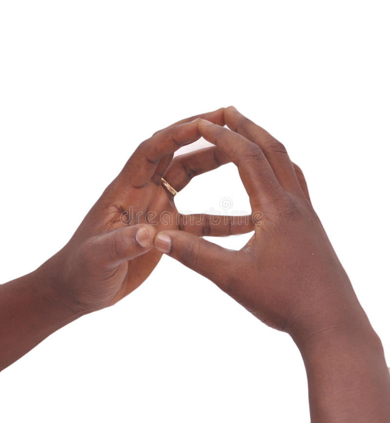 SIGNS OF LANGUAGE. Hand on white background leaving a message of bond resisting through gestures mimic referential between the deaf and dumb stock images