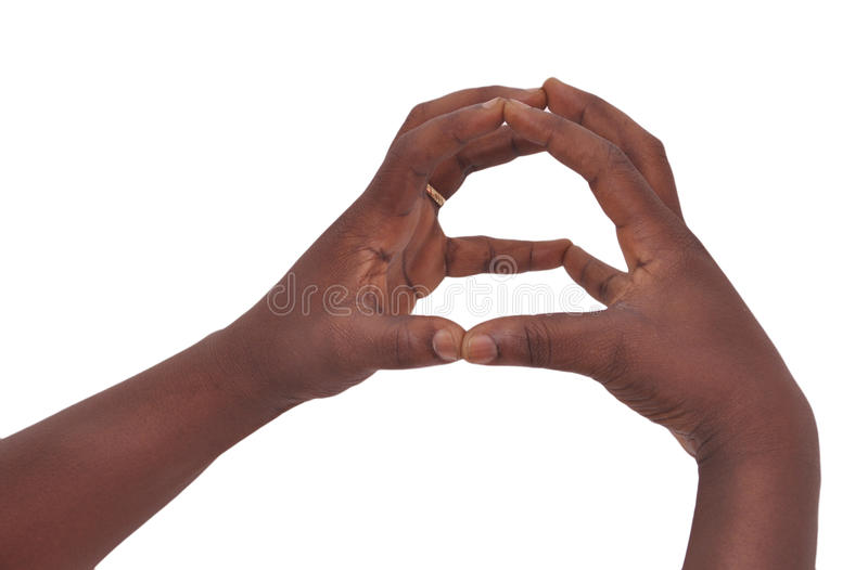 SIGNS OF LANGUAGE. Hand on a white background leaving a message of cohesion through gestures mimic referential between the deaf and dumb stock image