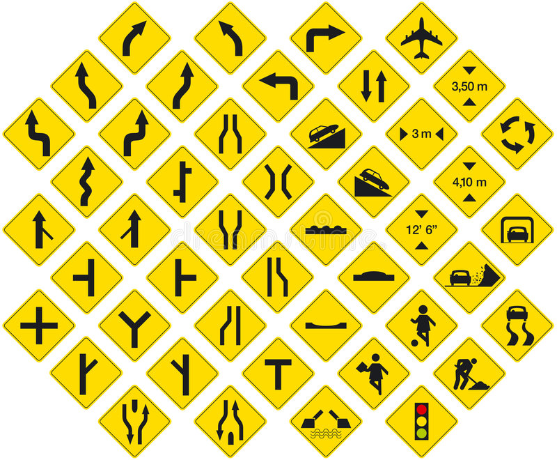 Signs pack 3. Road signs pack 3 (warning signs stock illustration