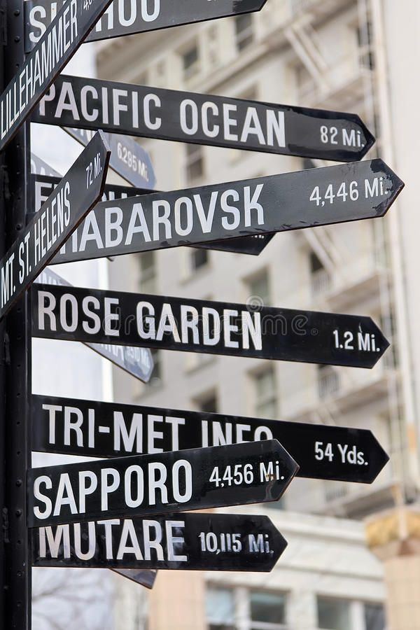 Signs Point in all Directions stock photo