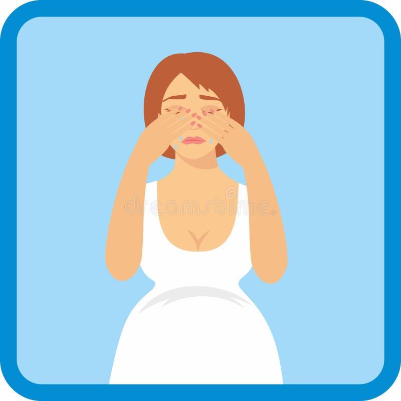 Signs of pregnancy symptoms - emotional instability. Vector illustration signs of pregnancy symptoms - emotional instability vector illustration