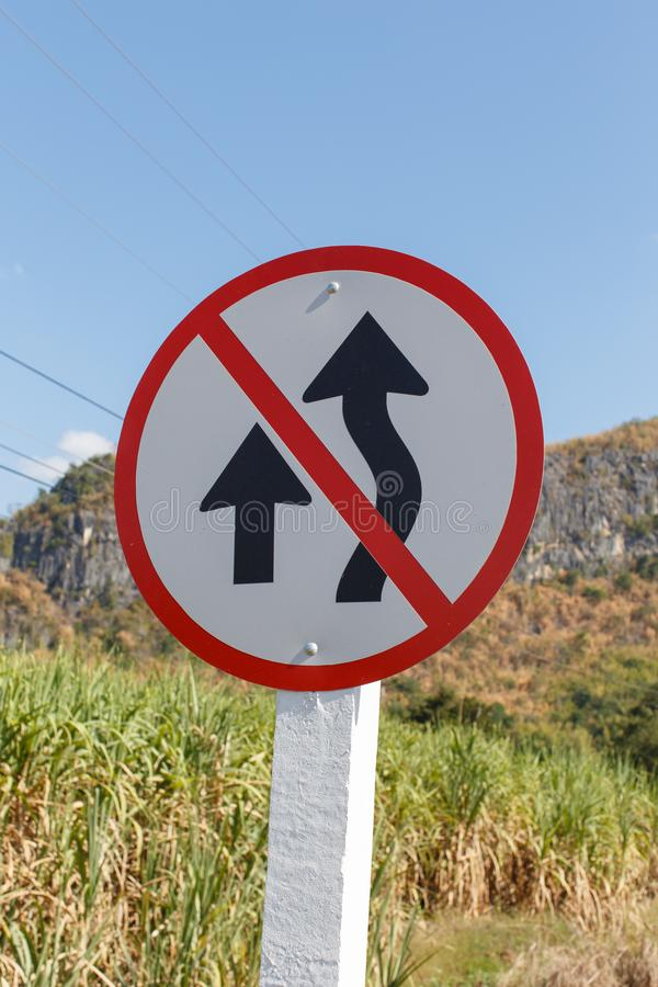 Signs prohibiting overtaking. Closeup detail stock images