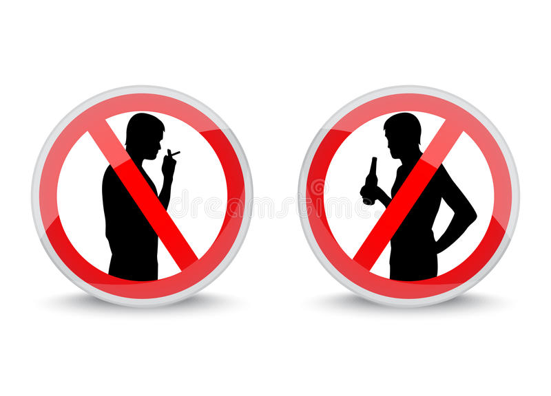 Download Signs Prohibiting Smoking And Drinking Alcohol Stock Illustration - Image: 36613942
