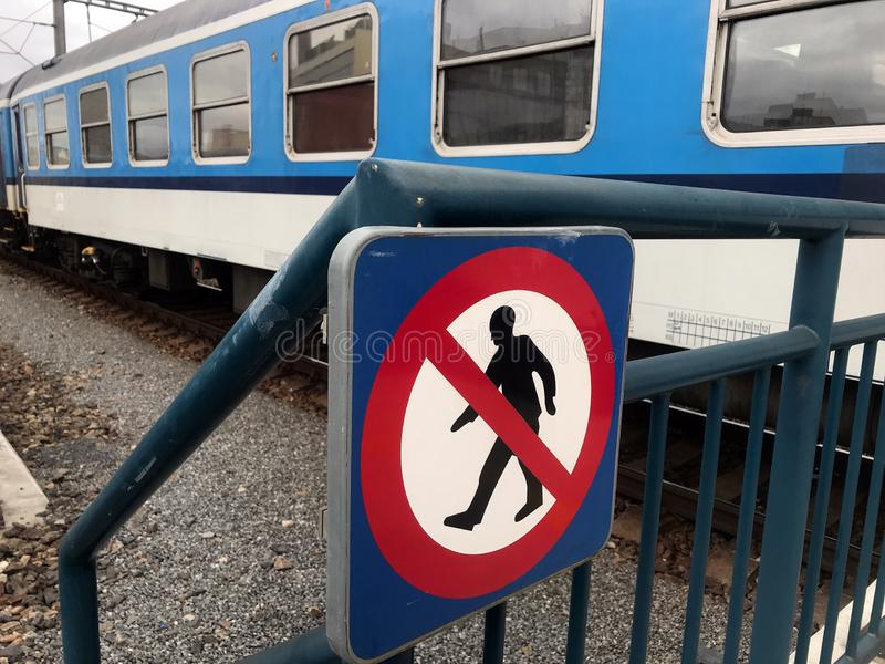 Signs for prohibition of walking on the track stock photos