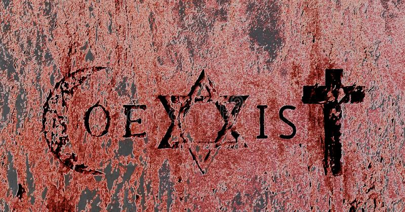 Signs and religious symbols of the Coexist movement. Religious symbols representing the 3 monotheistic religions: Muslims, Israelites and Catholics. Coexister is stock images