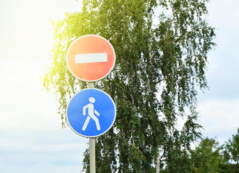 Signs road closed, pedestrian area in the Park. Blue, icon, safety, street, two, stop, forbidden, traffic, white, zone, district, city, danger, footpath stock photo