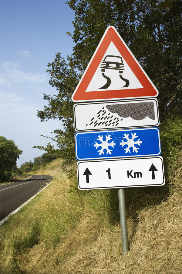 Download Signs On A Rural Road In Italy Stock Photo - Image: 12978374
