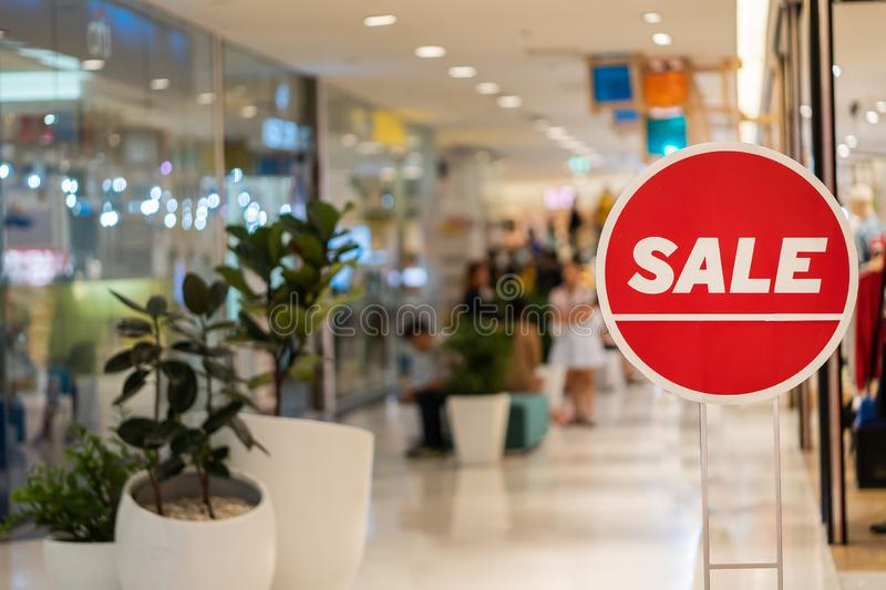 Signs on sale in department stores. Close uu of Signs on sale in department stores stock image