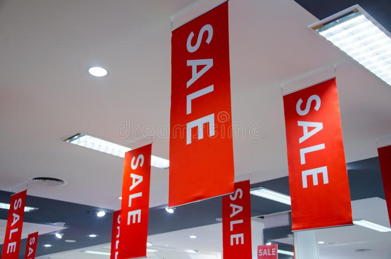 Signs of sale in the store.  stock photography