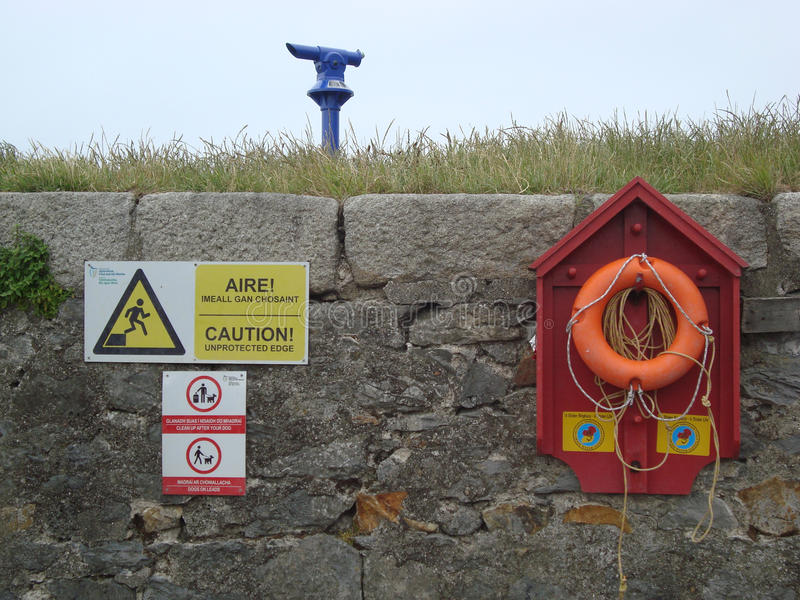 Signs at sea. Coloured signs on the pier in Howth, Ireland royalty free stock images