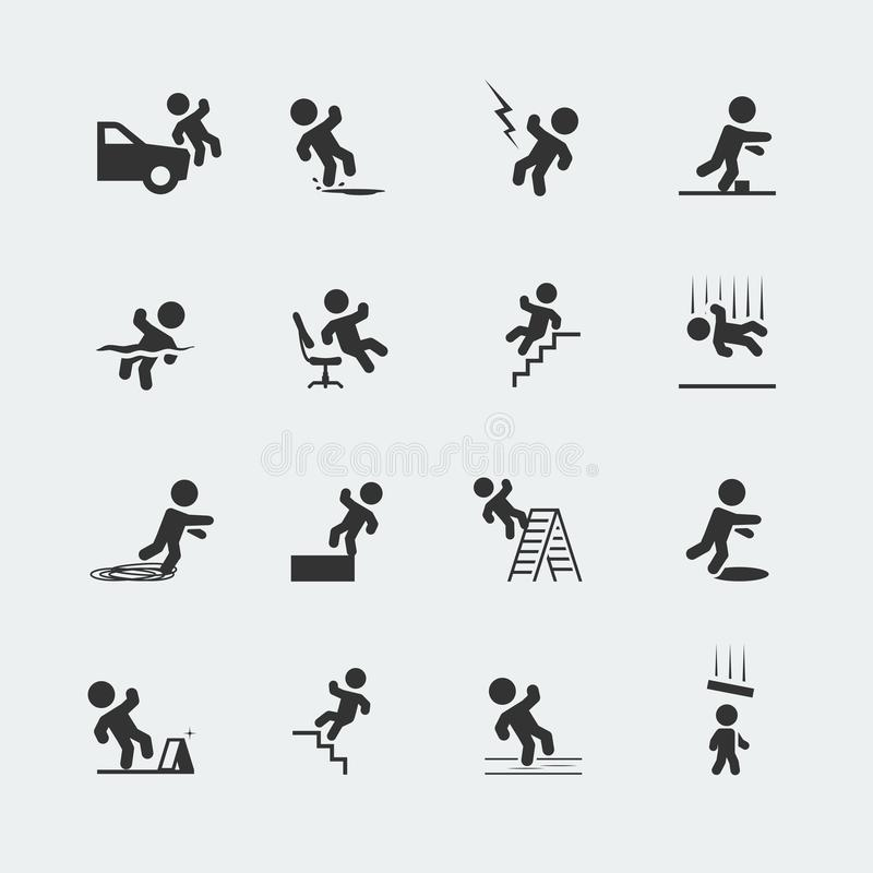Free Signs Showing A Stick Figure Man And Forms Of Trips, Slips, And Falls Stock Image - 164477341