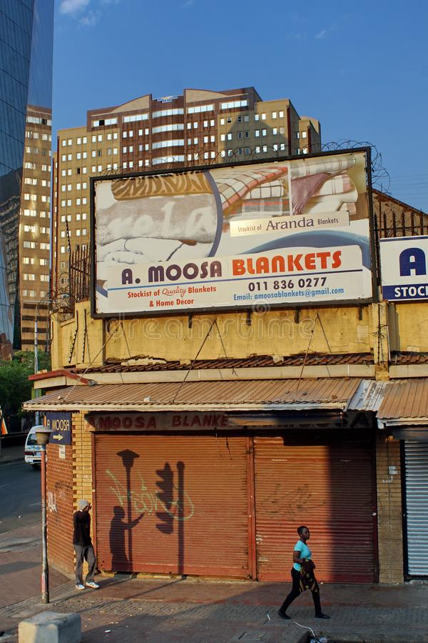 Signs on small businesses in Johannesburg royalty free stock photos