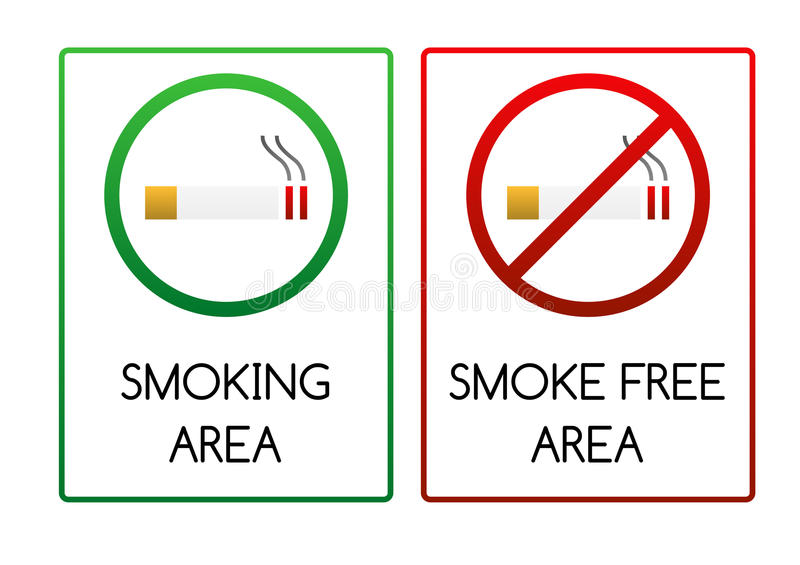 Signs for smoking and smoke free area stock illustration