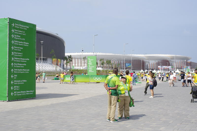 Signs of sporting venues in the Barra Olympic Park. In Barra da Tijuca with the Rio2016 Carioca complex and Rio Olympic Velodrome in the background. Rio de stock photography