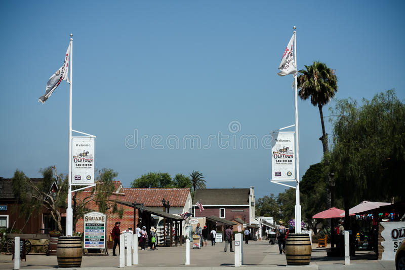Signs stating Old Town State Park in San Diego, California stock photo