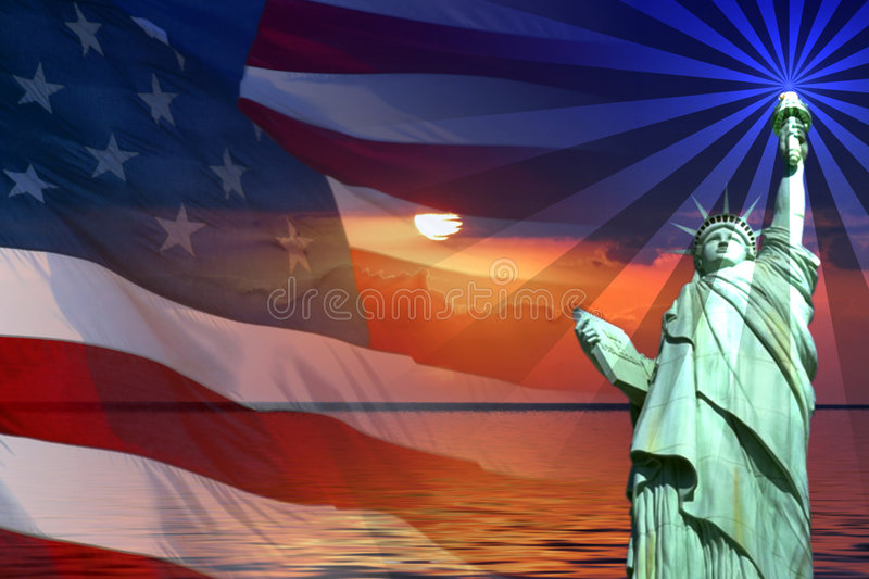 Signs and Symbols of America. Symbol of America, Flag, Sunrise, Statue of Liberty