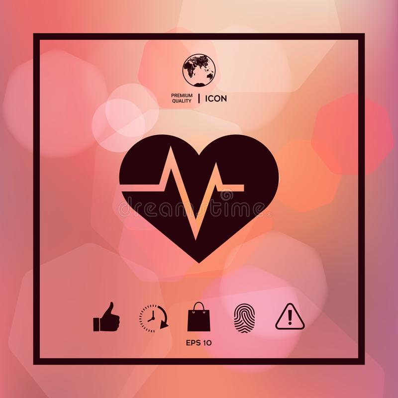 Heart With Ecg Wave Cardiogram Symbol Medical Icon Stock Vector