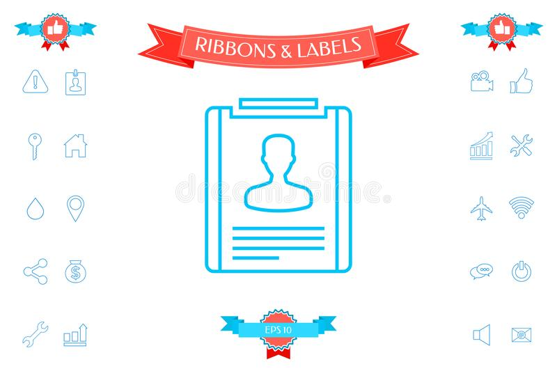 resume line icon stock vector illustration of profile 114889238