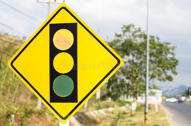 Signs and Symbols. Traffic routing and alert on the road to the vehicle stock photography