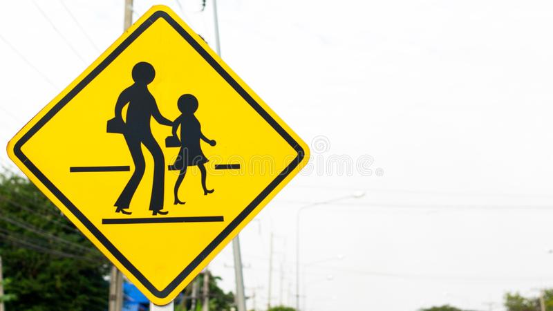 Signs and Symbols. Traffic routing and alert on the road to the vehicle stock image