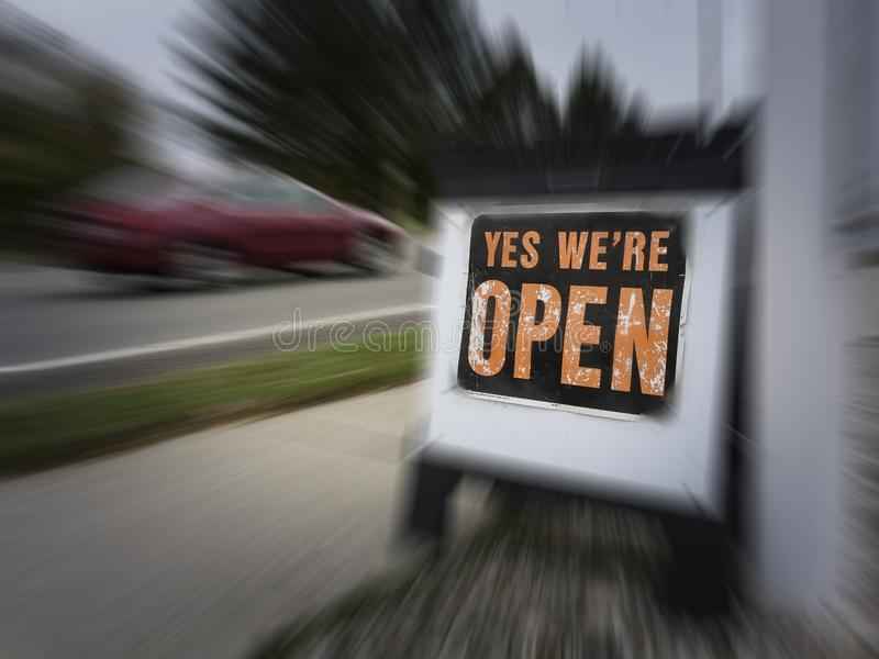 Signs to encourage potential customers to shop at the store royalty free stock photo